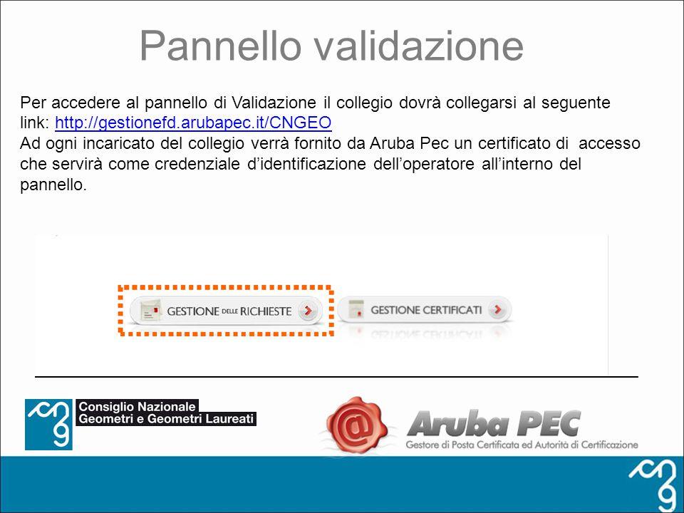 Pannello validazione Per accedere al pannello di Validazione il collegio dovrà collegarsi al seguente link: http://gestionefd.arubapec.it/CNGEO.