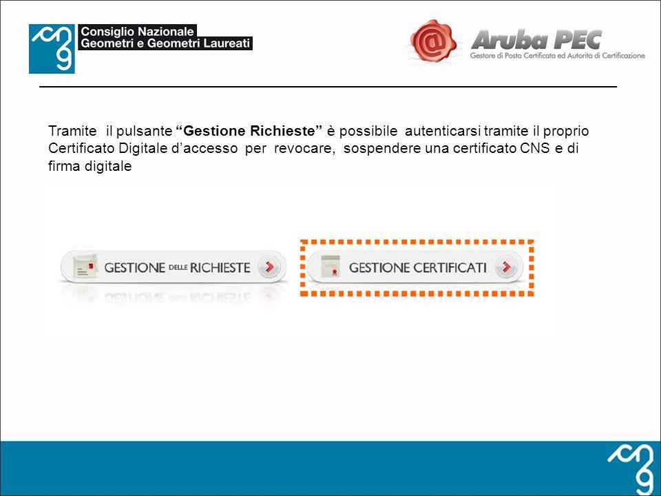 Tramite il pulsante Gestione Richieste è possibile autenticarsi tramite il proprio Certificato Digitale d'accesso per revocare, sospendere una certificato CNS e di firma digitale