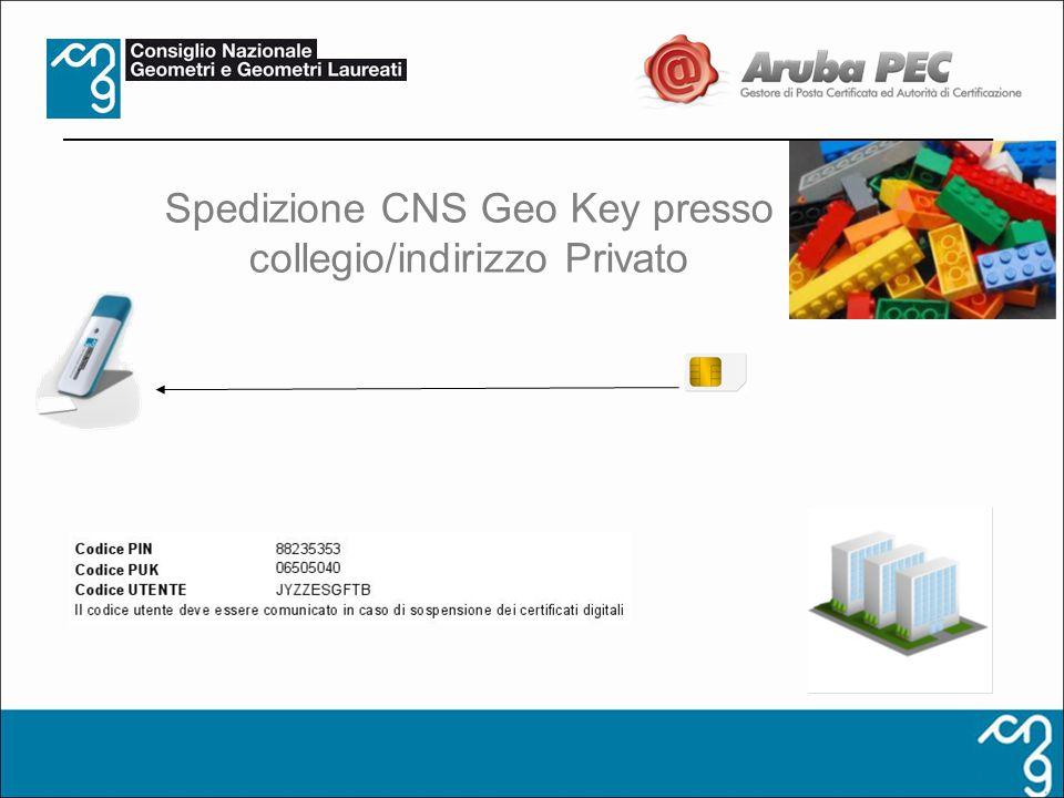 Spedizione CNS Geo Key presso collegio/indirizzo Privato