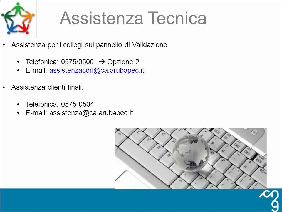 Assistenza Tecnica Assistenza per i collegi sul pannello di Validazione. Telefonica: 0575/0500  Opzione 2.