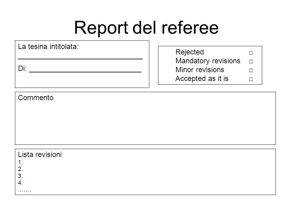 Report del referee La tesina intitolata: _______________________________. Di: ____________________________.