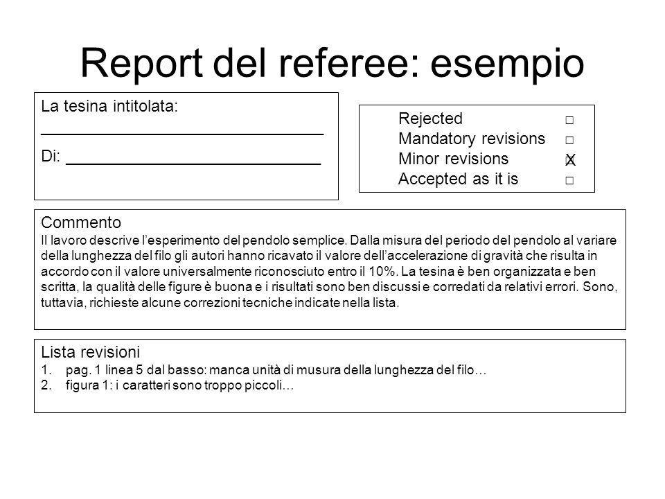 Report del referee: esempio