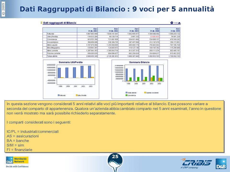 Dati Raggruppati di Bilancio : 9 voci per 5 annualità