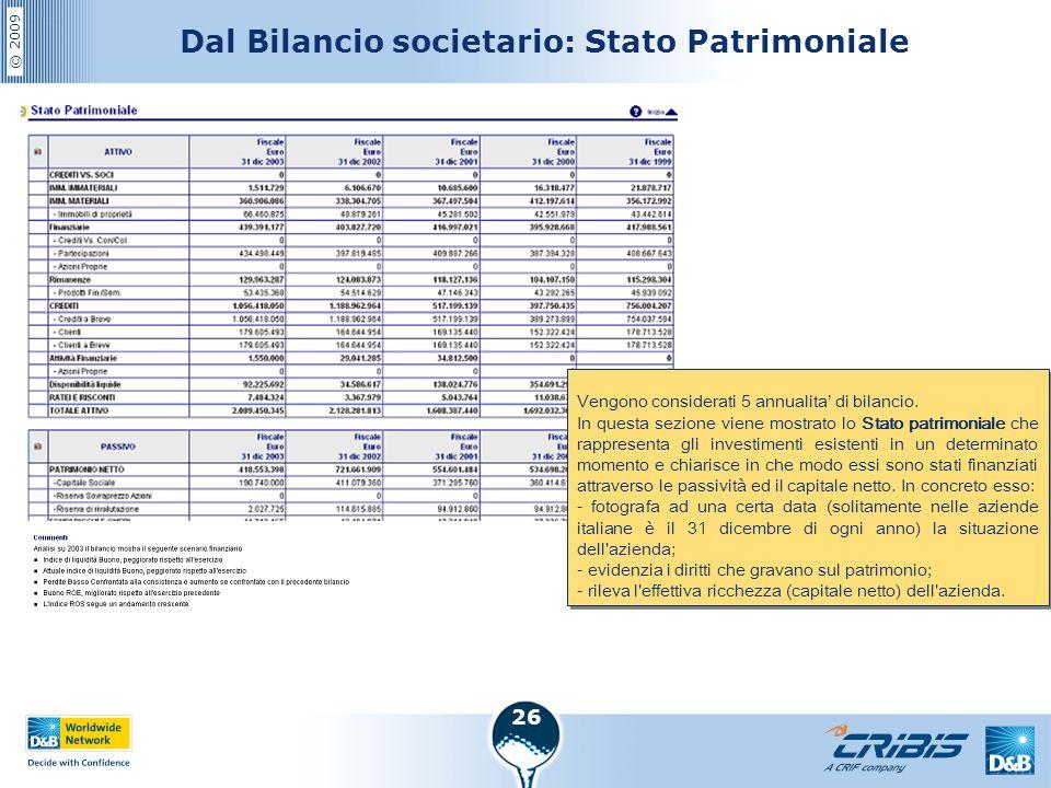 Dal Bilancio societario: Stato Patrimoniale