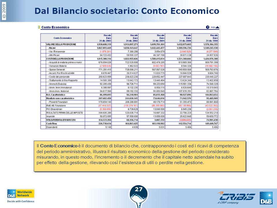 Dal Bilancio societario: Conto Economico