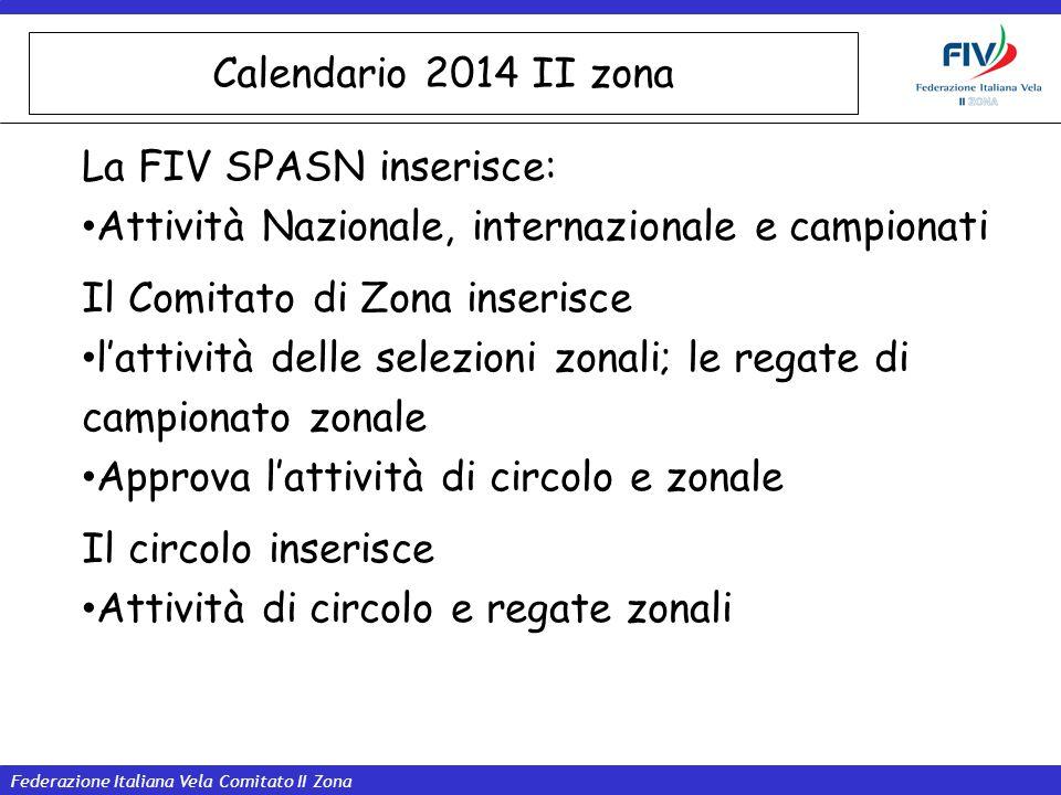 Calendario 2014 II zona La FIV SPASN inserisce: Attività Nazionale, internazionale e campionati. Il Comitato di Zona inserisce.