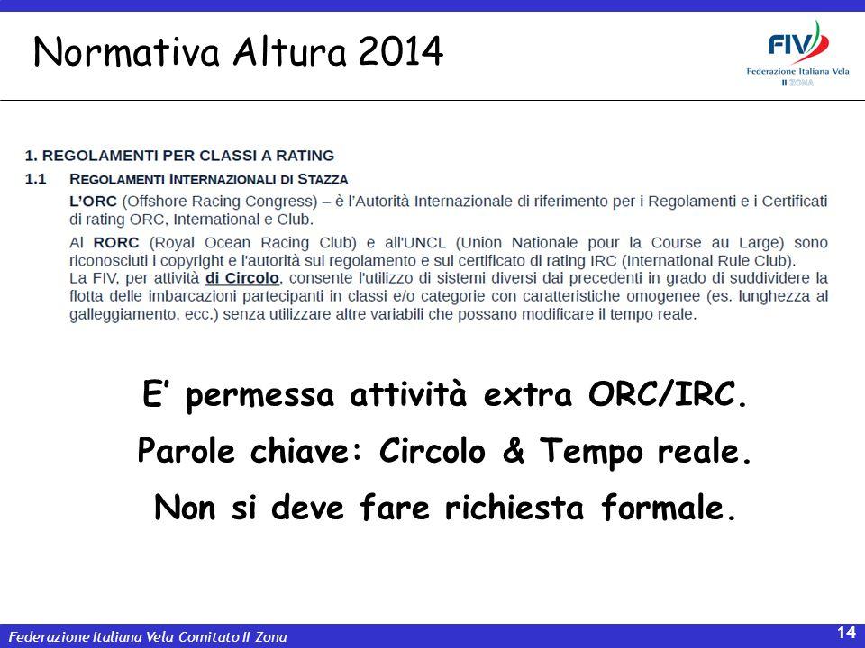 Normativa Altura 2014 E' permessa attività extra ORC/IRC.