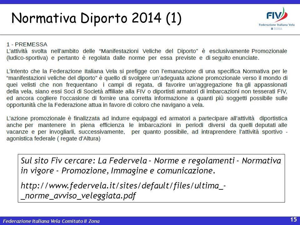 Normativa Diporto 2014 (1) Sul sito Fiv cercare: La Federvela - Norme e regolamenti - Normativa in vigore - Promozione, Immagine e comunicazione.