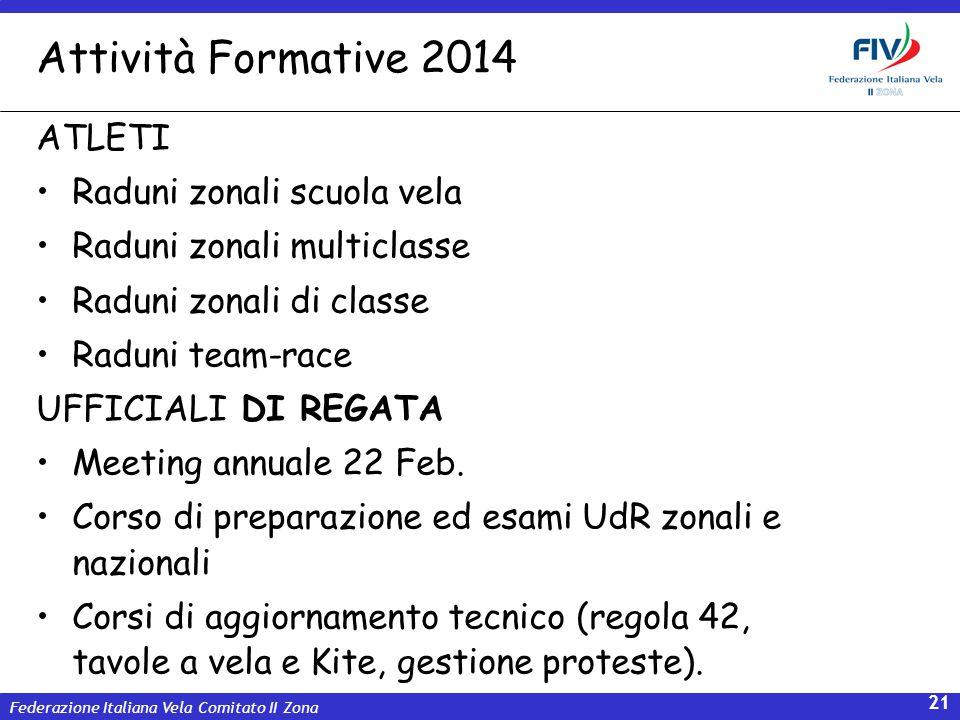 Attività Formative 2014 ATLETI Raduni zonali scuola vela