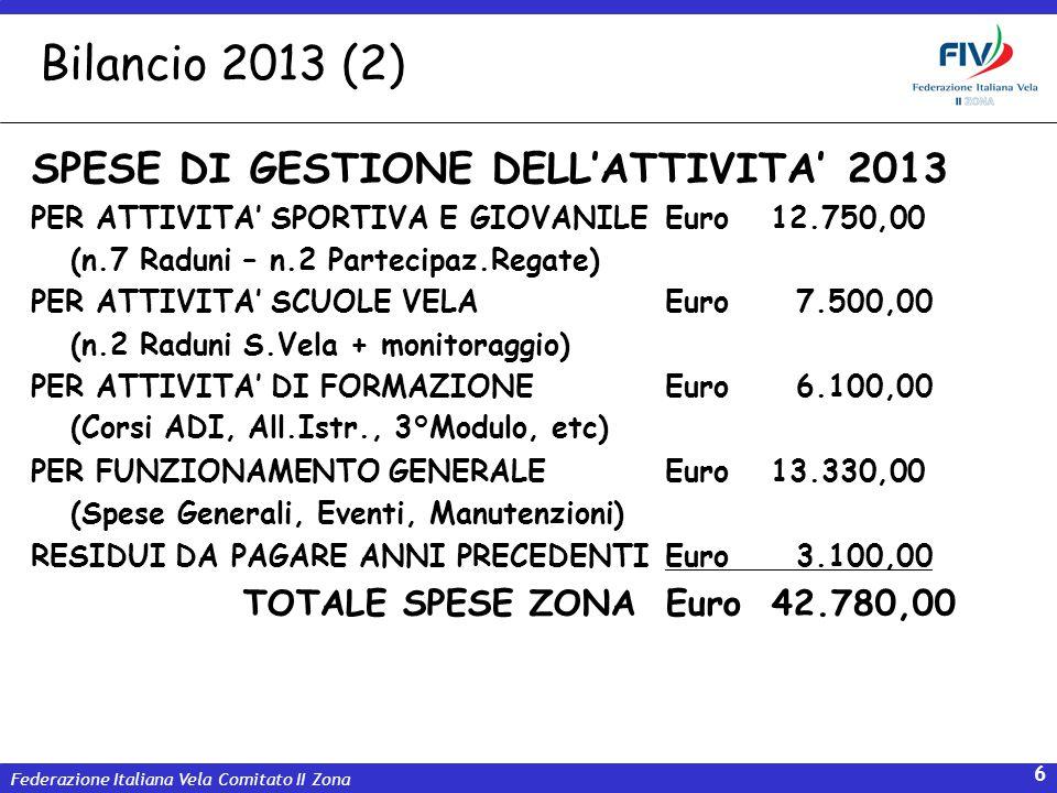 Bilancio 2013 (2) SPESE DI GESTIONE DELL'ATTIVITA' 2013