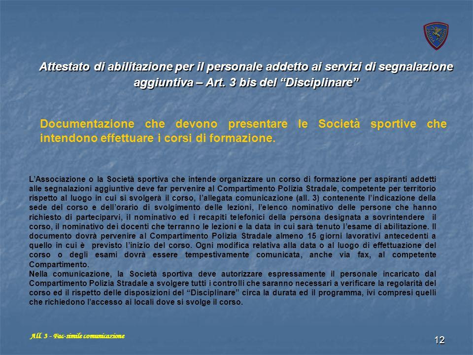 All. 3 - Fac-simile comunicazione