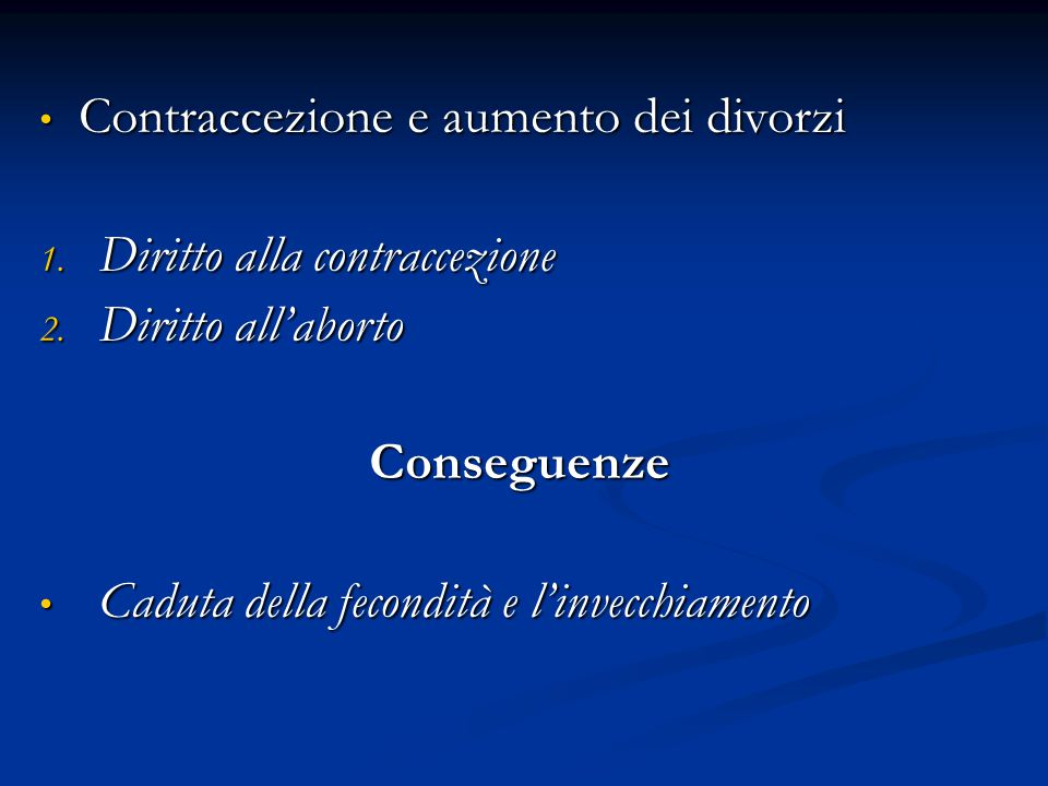 Contraccezione e aumento dei divorzi