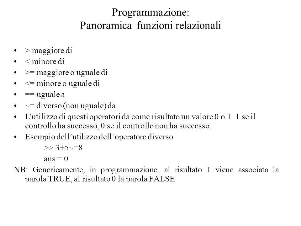 Programmazione: Panoramica funzioni relazionali