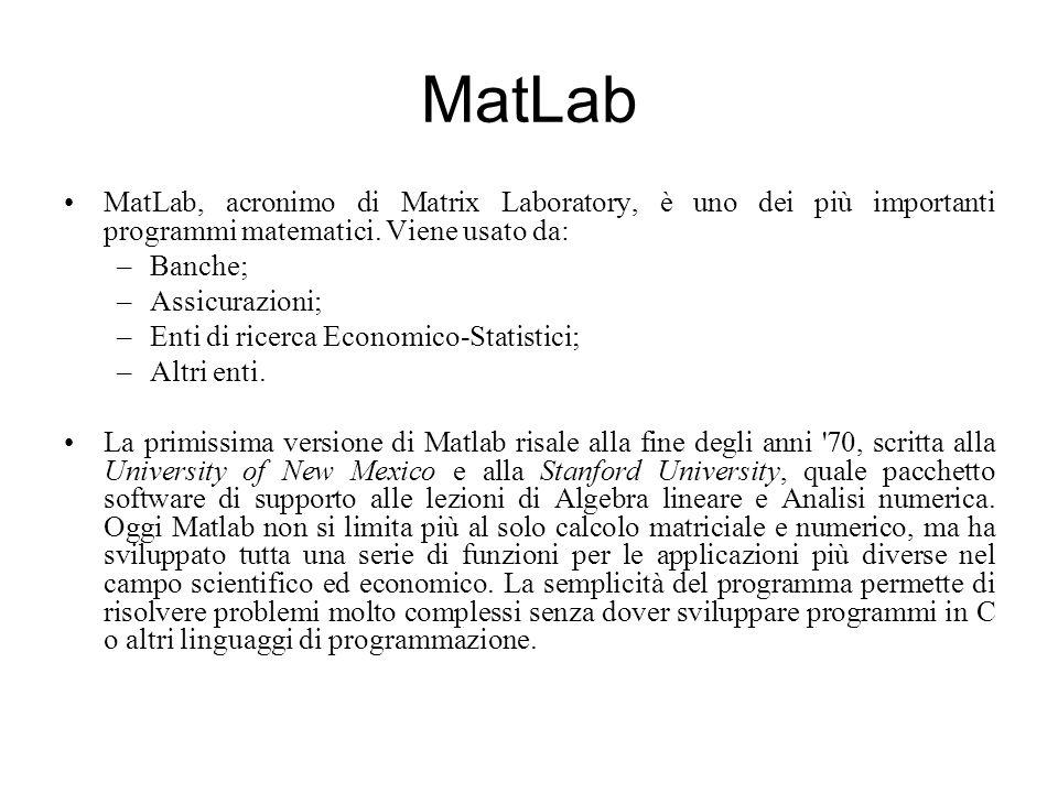 MatLab MatLab, acronimo di Matrix Laboratory, è uno dei più importanti programmi matematici. Viene usato da: