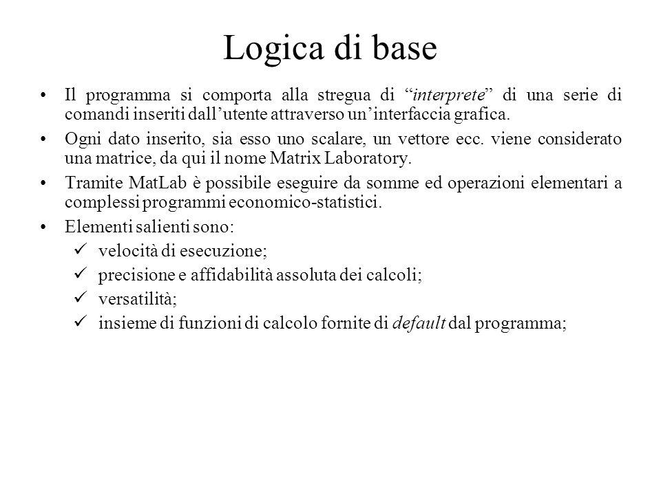 Logica di base Il programma si comporta alla stregua di interprete di una serie di comandi inseriti dall'utente attraverso un'interfaccia grafica.