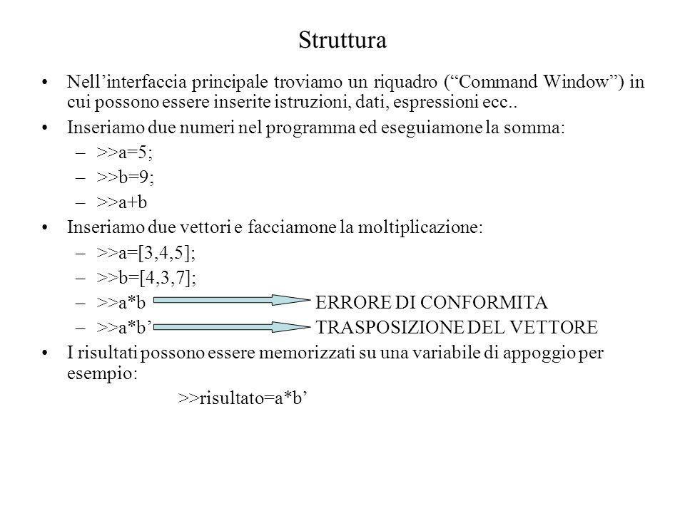 Struttura Nell'interfaccia principale troviamo un riquadro ( Command Window ) in cui possono essere inserite istruzioni, dati, espressioni ecc..
