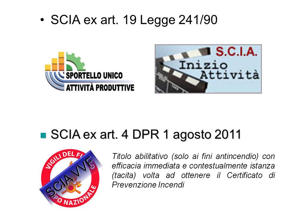 SCIA ex art. 19 Legge 241/90 SCIA ex art. 4 DPR 1 agosto 2011 SCIA VVF
