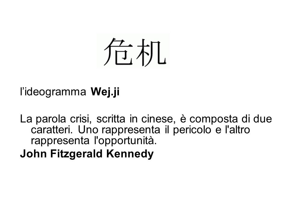 l'ideogramma Wej.ji La parola crisi, scritta in cinese, è composta di due caratteri. Uno rappresenta il pericolo e l altro rappresenta l opportunità.