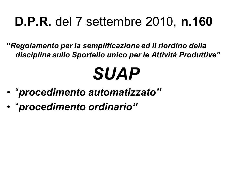 SUAP D.P.R. del 7 settembre 2010, n.160 procedimento automatizzato