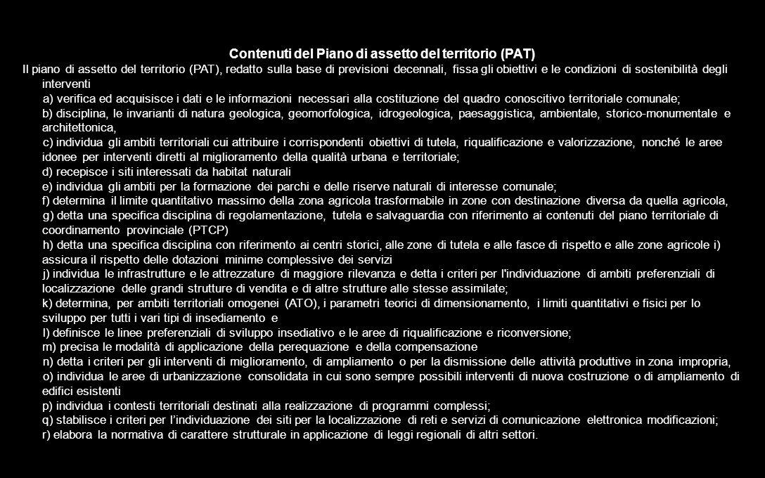 Contenuti del Piano di assetto del territorio (PAT)