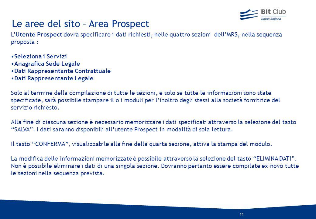 Le aree del sito – Area Prospect