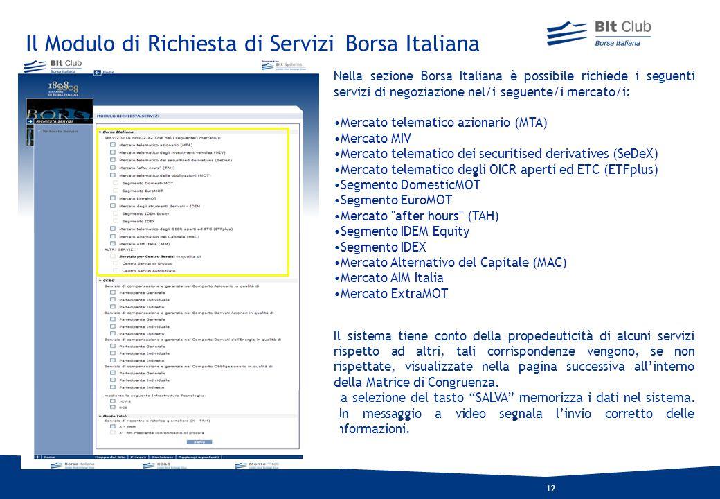 Il Modulo di Richiesta di Servizi Borsa Italiana