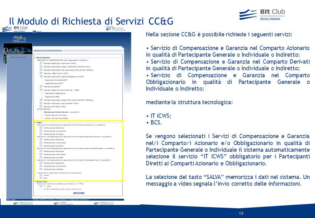 Il Modulo di Richiesta di Servizi CC&G