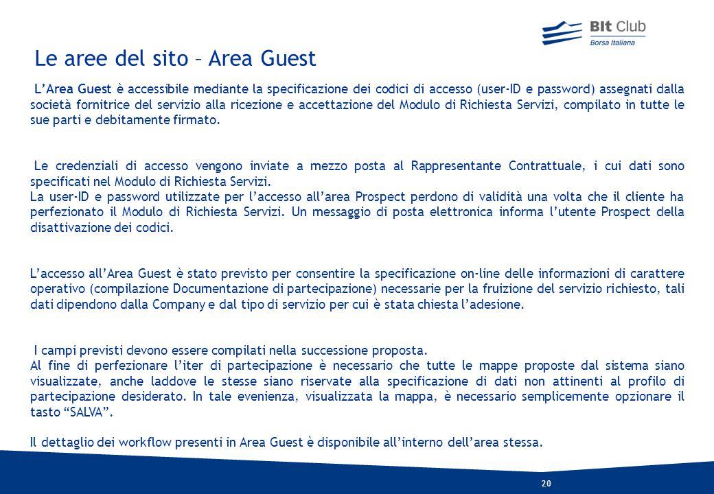 Le aree del sito – Area Guest