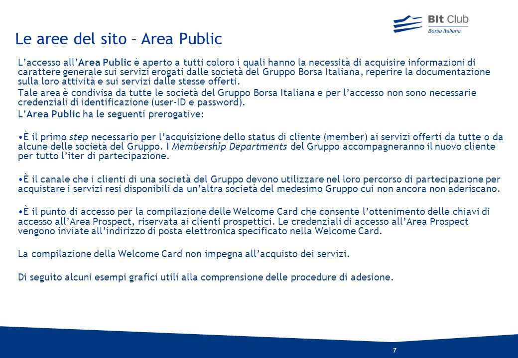 Le aree del sito – Area Public