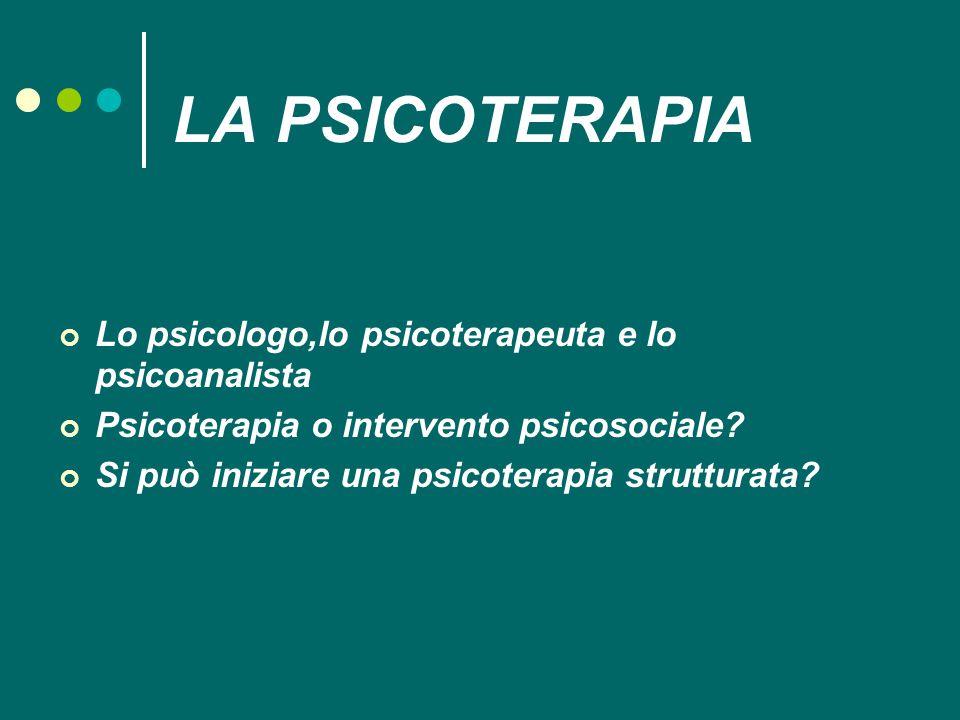 LA PSICOTERAPIA Lo psicologo,lo psicoterapeuta e lo psicoanalista