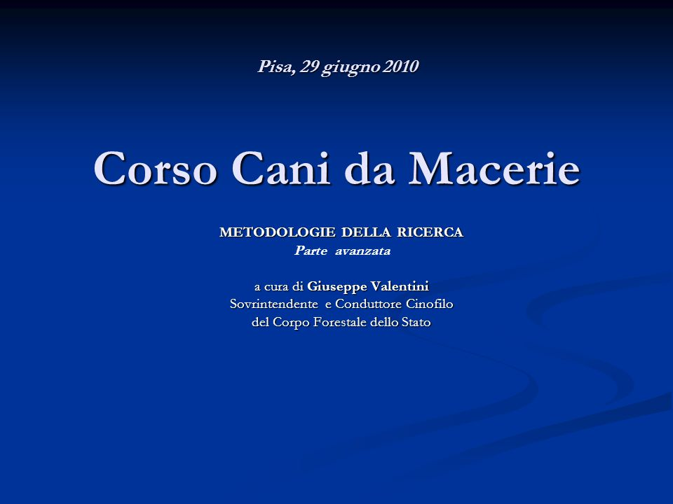Pisa, 29 giugno 2010 Corso Cani da Macerie