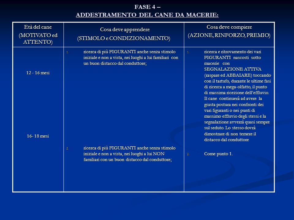 FASE 4 – ADDESTRAMENTO DEL CANE DA MACERIE: