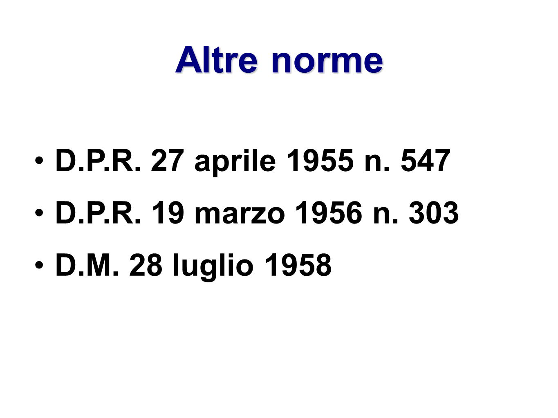 Altre norme D.P.R. 27 aprile 1955 n. 547 D.P.R. 19 marzo 1956 n. 303