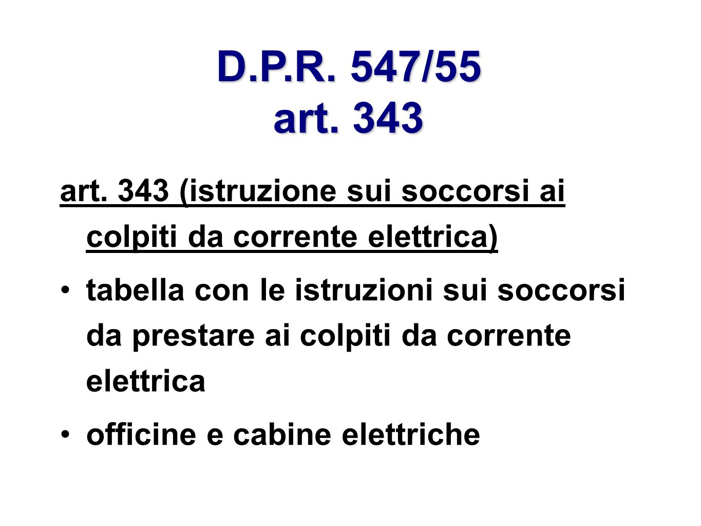 D.P.R. 547/55 art. 343 art. 343 (istruzione sui soccorsi ai colpiti da corrente elettrica)