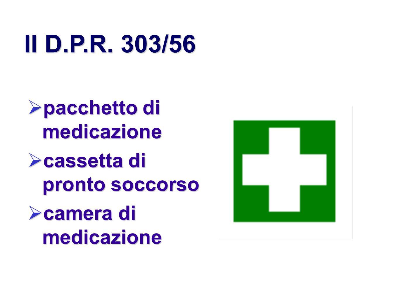 Il D.P.R. 303/56 pacchetto di medicazione cassetta di pronto soccorso