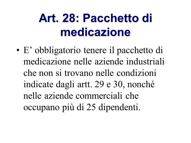 Art. 28: Pacchetto di medicazione
