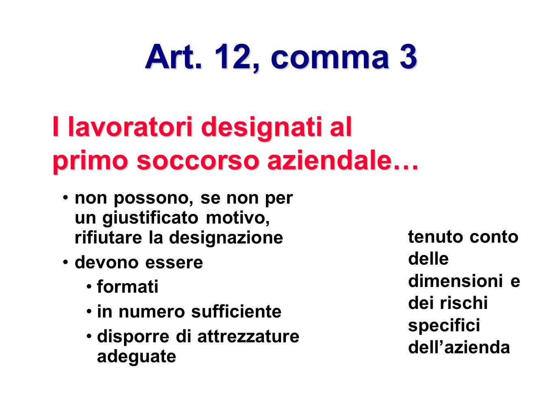 Art. 12, comma 3 I lavoratori designati al primo soccorso aziendale…