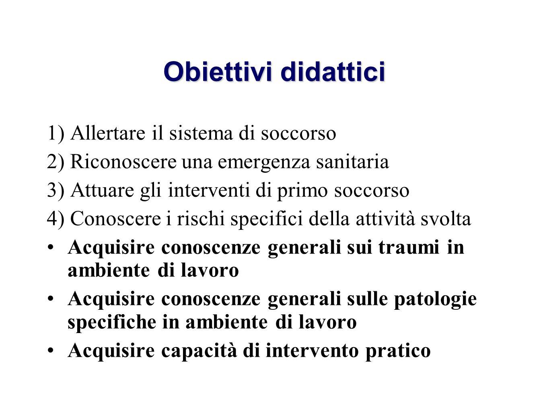 Obiettivi didattici 1) Allertare il sistema di soccorso