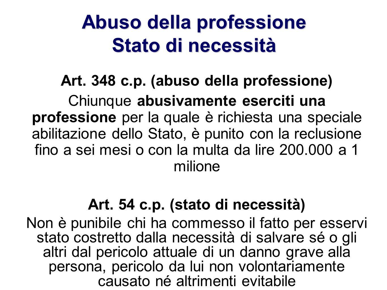 Abuso della professione Stato di necessità