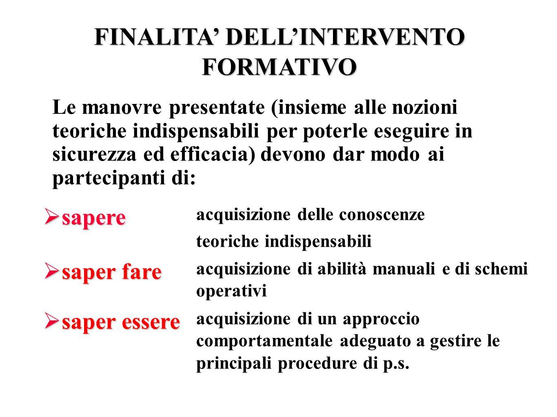 FINALITA' DELL'INTERVENTO FORMATIVO