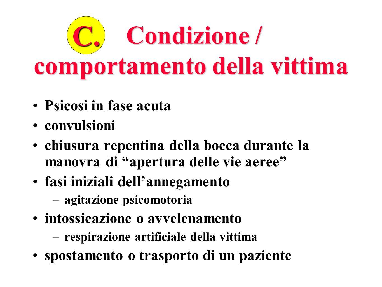 Condizione / comportamento della vittima