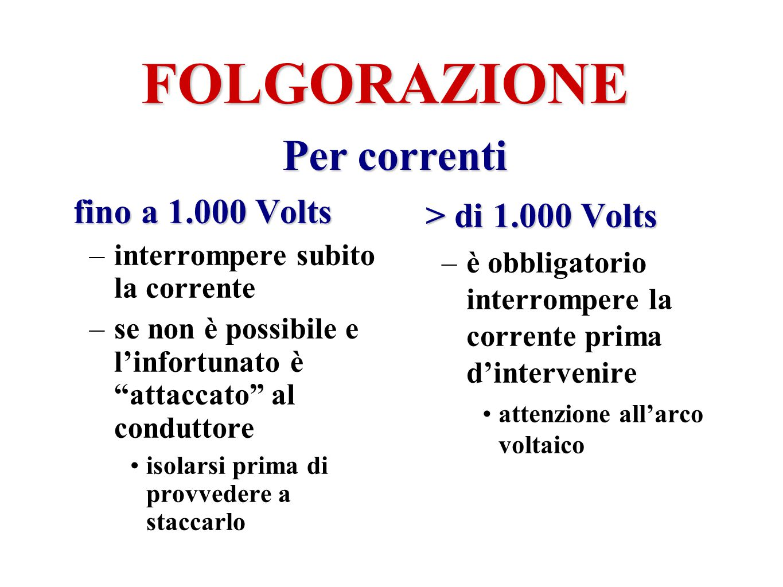 FOLGORAZIONE Per correnti fino a 1.000 Volts > di 1.000 Volts