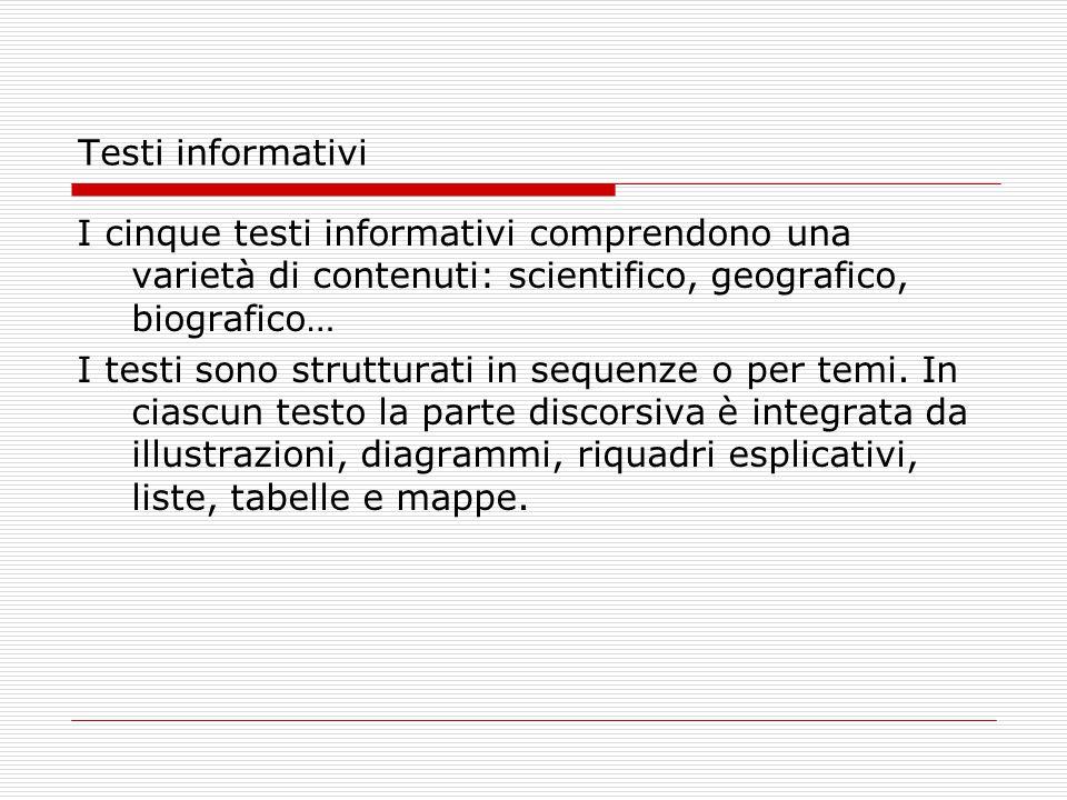 Testi informativi I cinque testi informativi comprendono una varietà di contenuti: scientifico, geografico, biografico…