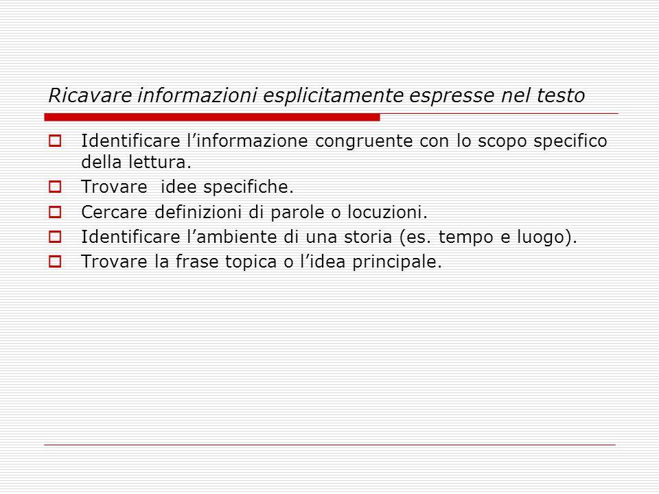 Ricavare informazioni esplicitamente espresse nel testo