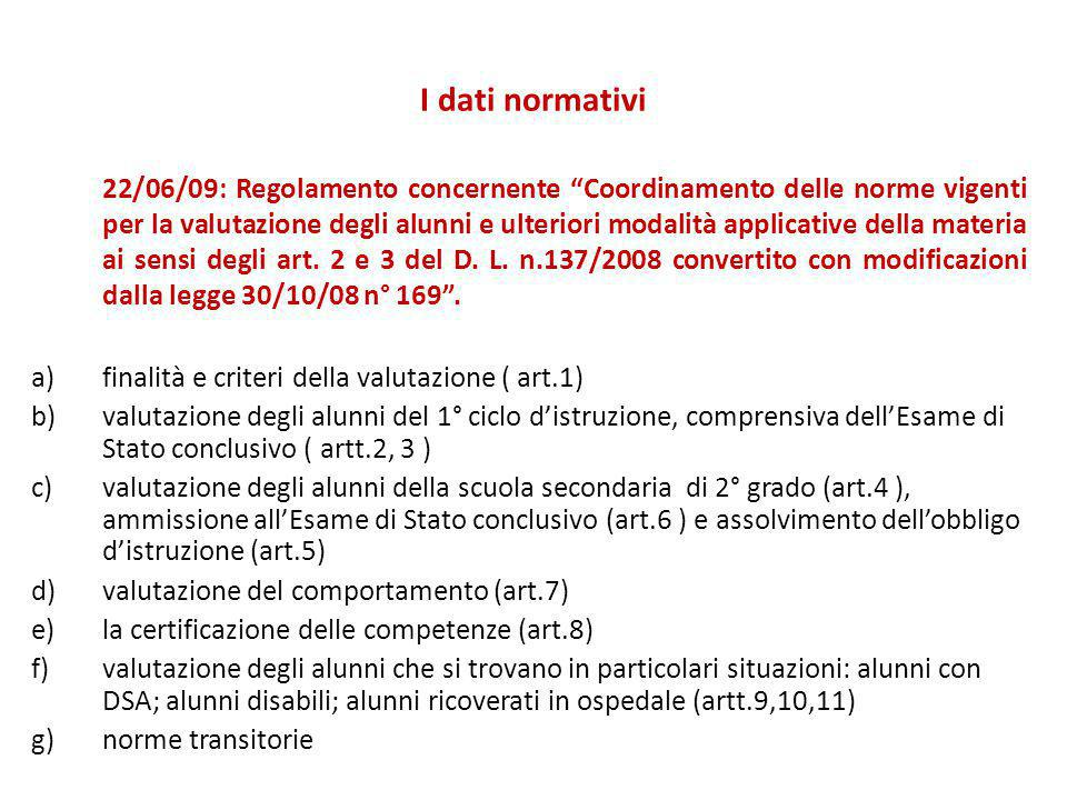 I dati normativi