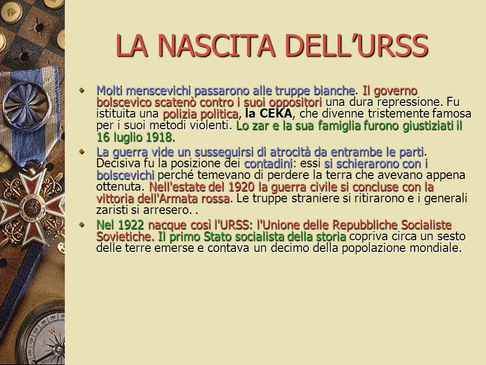LA NASCITA DELL'URSS