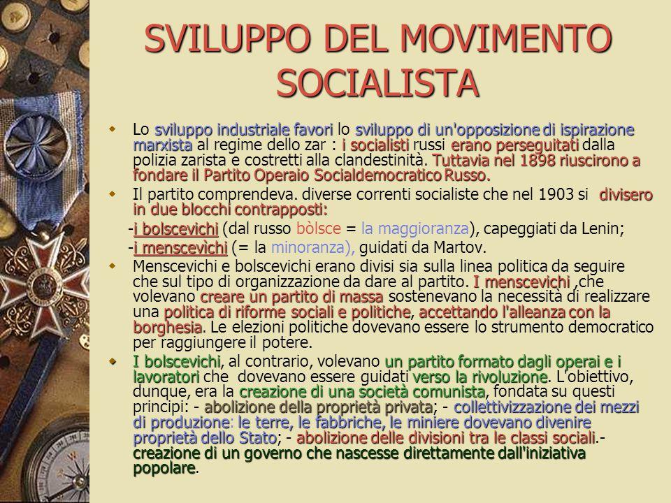 SVILUPPO DEL MOVIMENTO SOCIALISTA