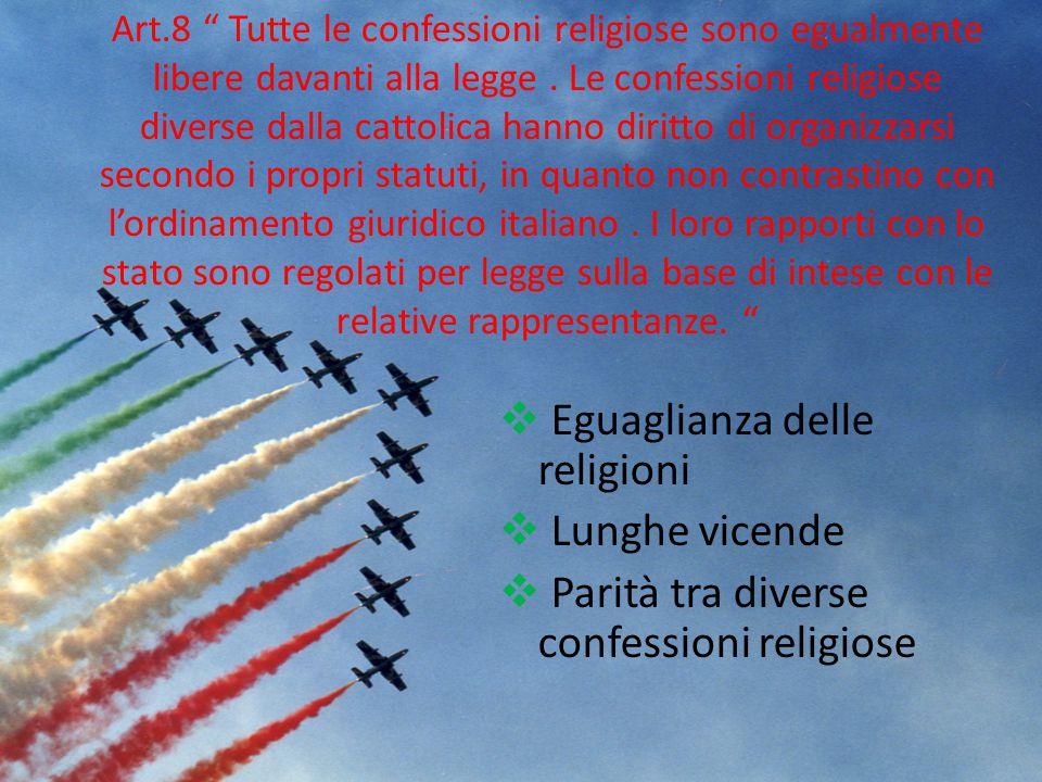 Eguaglianza delle religioni Lunghe vicende