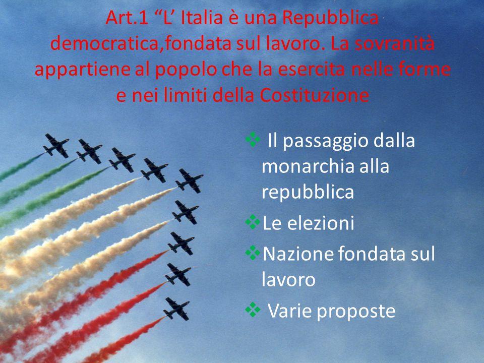 Art. 1 L' Italia è una Repubblica democratica,fondata sul lavoro