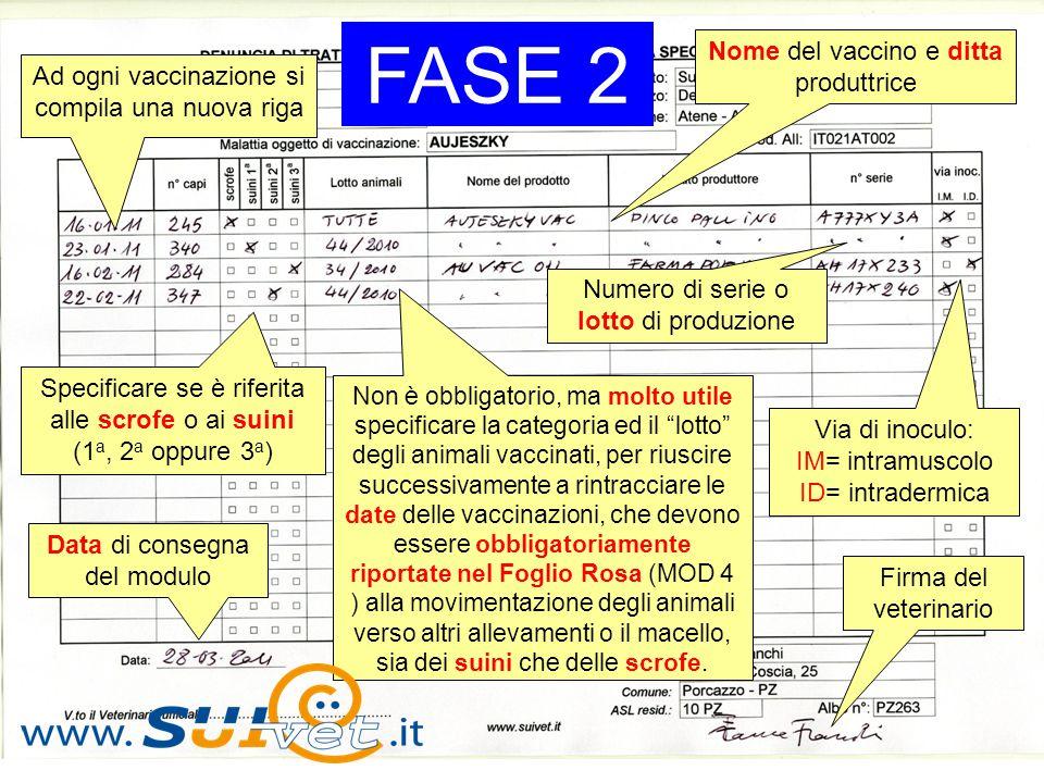 FASE 2 Nome del vaccino e ditta produttrice